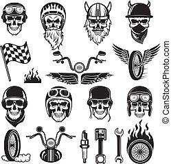 roue, moteur, symbols., crâne, brûler, motard, vélo, silhouettes, vecteur, drapeaux, motocyclette, os