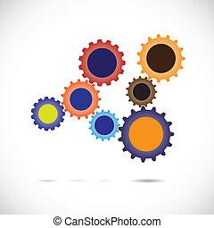roue, mouvement, associé, coloré, &, system., général, ...