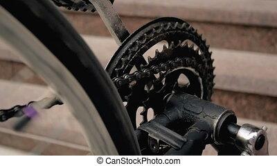 roue, mouvement, lent, vieux, chaîne, métrage, tourner, ...