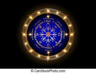 roue, noms, annuel, beaucoup, vegvisir, cycle, année, observé, pagans., celtique, solstices, nordique, festivals, calendrier, compas, holidays., symbole, saisonnier, pentagram, wiccan, moderne