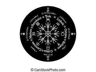 roue, nordique, annuel, saisonnier, calendrier, beaucoup, ...