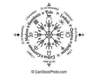 roue, nordique, annuel, saisonnier, calendrier, beaucoup, moderne, pentagram, festivals, observé, compas, vegvisir, pagans., symbole, celtique, noms, wiccan, solstices, année, cycle, holidays.