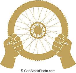 roue, nouveau, direction, obtenu