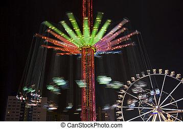 roue, parc, ferris, carrousel, nuit, amusement