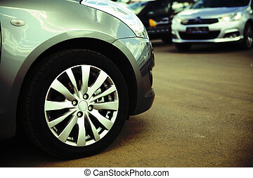 roue, passager, moderne, pare-chocs voiture