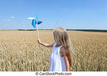 roue, peu, champ blé, tenue, girl, vent