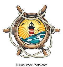 roue, phare, intérieur, bateau, direction