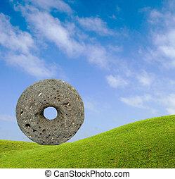 roue, pierre