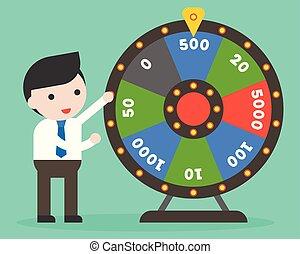 roue, plat, conception, fortune, homme affaires