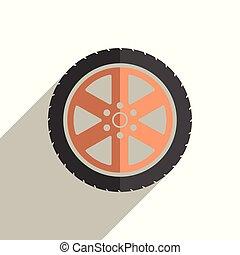 roue, plat, icônes, voiture, illustration, vecteur, shadow.