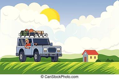roue, plat, nuages, soleil, voiture, bagage, meadow., house., toit, suv, derrière, vecteur, type, horizontal., fond, véhicule, rural, sourire, style., paysage, illustration.