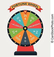 roue, plat, style, vecteur, fortune