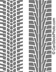 roue, pneu, -, deux, seamless, imprimer, motifs, pistes, pneu