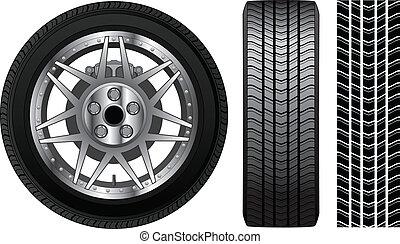 roue, -, pneu, et, bord, à, freins