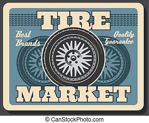roue, pneu, service, voiture, essayage, épargner