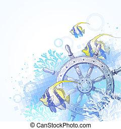 roue, poissons, bateau, direction