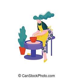 roue, poterie, femme, pot, céramique, profession, jeune, ...