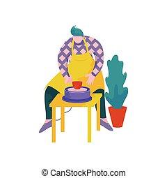 roue, poterie, pot, céramique, profession, illustration, ...