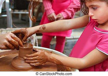 roue, poterie, travail, potier, atelier, pupille, mains, ...