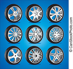 roue, profil, automobile, pneus, bas, alliage, roues