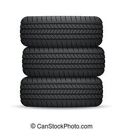 roue, réaliste, pneu, voiture