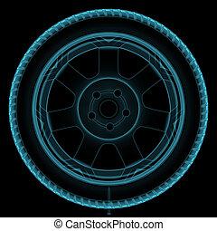 roue, rayon x
