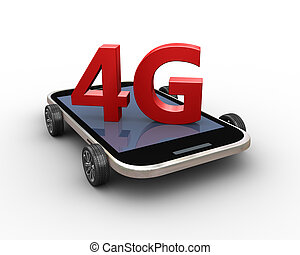 roue, render, téléphone portable, 4g, intelligent, 3d