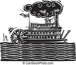 roue, riverboat, poupe, vagues