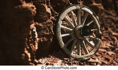 roue, rochers, bois, charrette, vieux, pierre