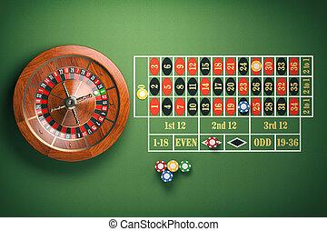 roue, roulette, chips, casino, arrière-plan., vert, jeux & paris, table.