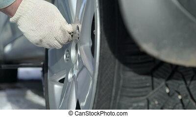 roue, sien, hiver, pneu, voiture, fou, changer, serrage, homme