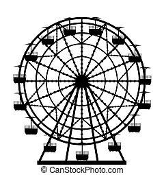 roue, silhouette, ferris