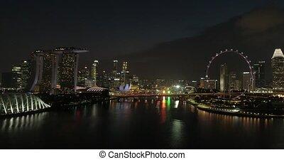 roue, singapour, glissement, sur, ferris, rivière