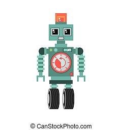 roue, sirène, horloge, reveil, robot, machine