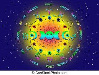 roue, soleil, planètes, énergie, bleu, wiccan, univers, païen, symbole, signes zodiaque, circle., fond, vecteur, étoilé, lune, phases, coloré, isolé, système, orbites, triple, lune, déesse