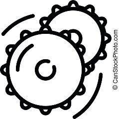roue, style, contour, vélo, dent, icône