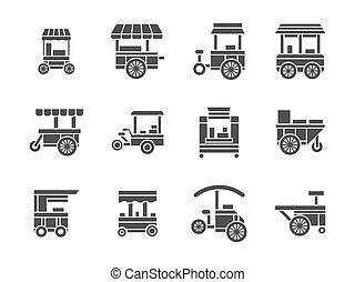roue, style, ensemble, icônes, nourriture, vecteur, stalle, glyph
