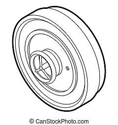 roue, style, porte, contour, serrure, fer, icône, bateau