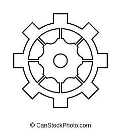 roue, symbole, industriel, engrenage, dent