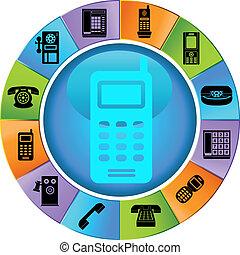 roue, téléphone, icônes