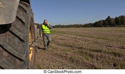 roue, téléphone, paysan, tracteur, conversation