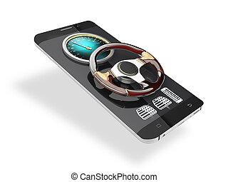 roue, téléphone, voiture, caractère, isolé, illustration, arrière-plan., blanc, direction, intelligent, 3d