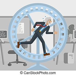 roue, tension, business, courant, hamster, homme mûr
