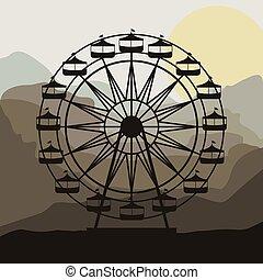 roue, thématique, parc, scène, ferris, fond