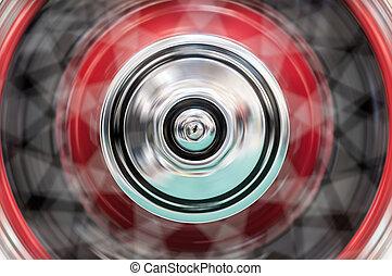 roue, tourner, blur., car's, jeûne