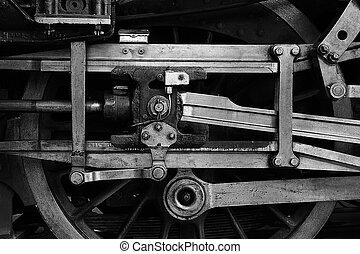 roue, train, vapeur, conduire