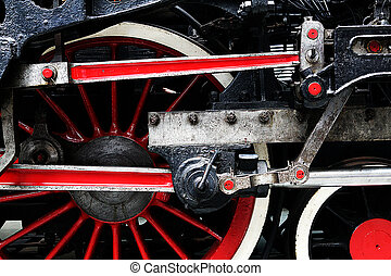roue, train, vapeur