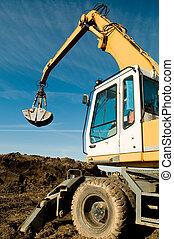 roue, travail, excavateur, chargeur