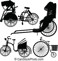 roue, trishaw, vélo, vieux, tricycle
