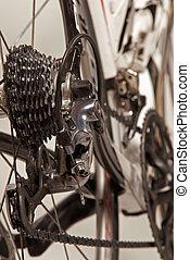 roue, vélo, système, arrière